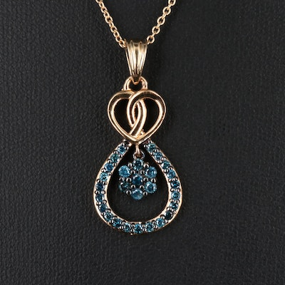 Sterling Silver Blue Diamond Looped Heart Pendant Necklace