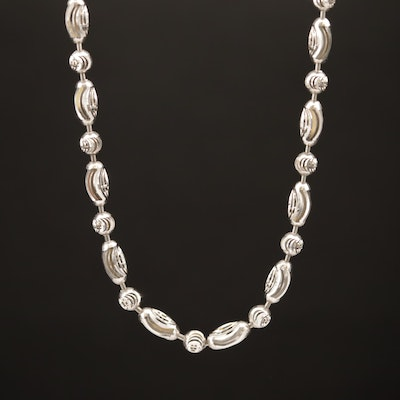 "18K Patterned ""Dot Dash"" Bead Chain Necklace"