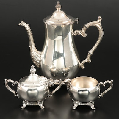 Wm. Rogers Silver Plate Teapot, Sugar, and Creamer, Mid-20th Century
