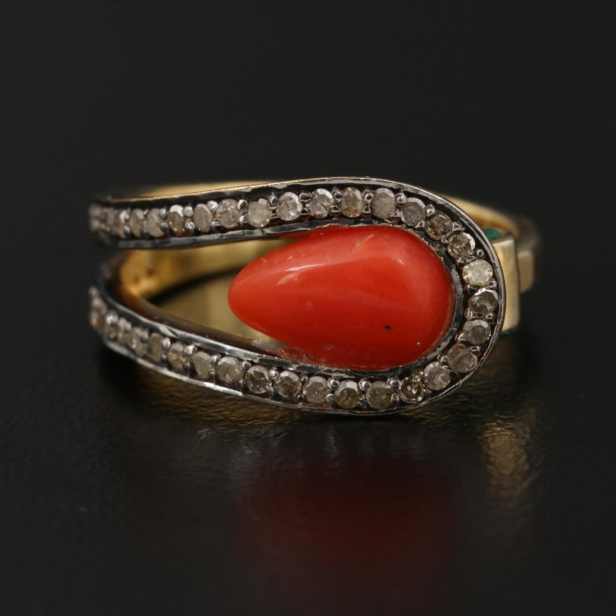 Sterling Silver Coral, Diamond and Emerald Ring