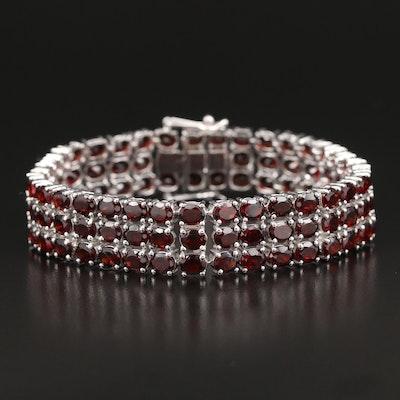 Sterling Garnet Three Row Line Bracelet