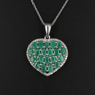 Sterling Silver Emerald and Diamond Heart Pendant Necklace