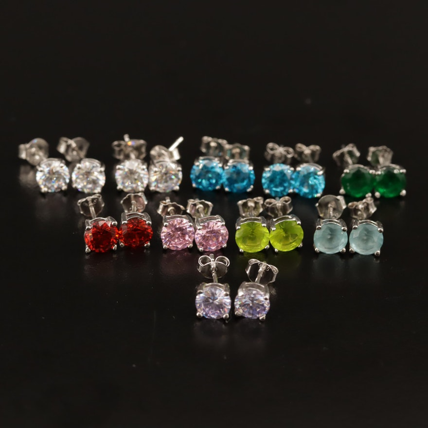 Selection of Sterling Cubic Zirconia Stud Earrings