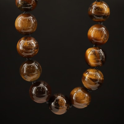 Endless Beaded Tiger's Eye Necklace
