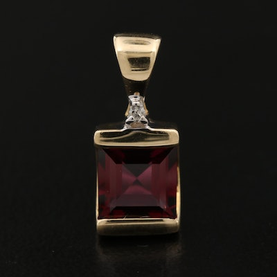 14K Rhodolite Garnet Pendant with Diamond Accent