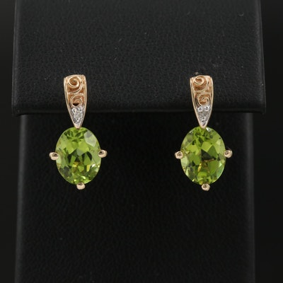14K Peridot Drop Earrings with Diamond Accents