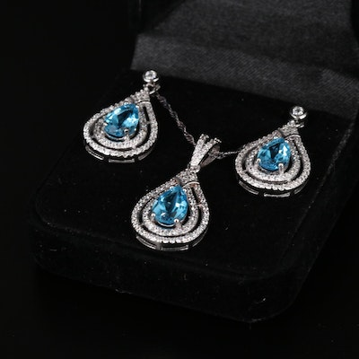 Sterling Silver Topaz and Cubic Zirconia Necklace and Earrings Set