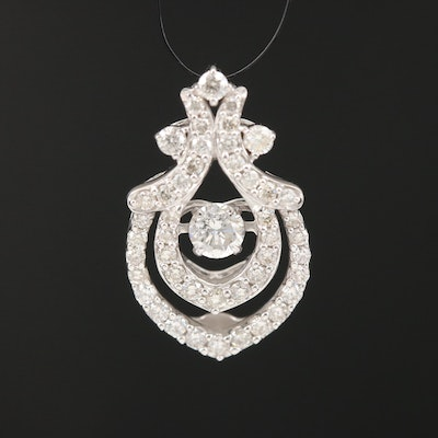 14K Diamond Pendant with Articulating Center Diamond