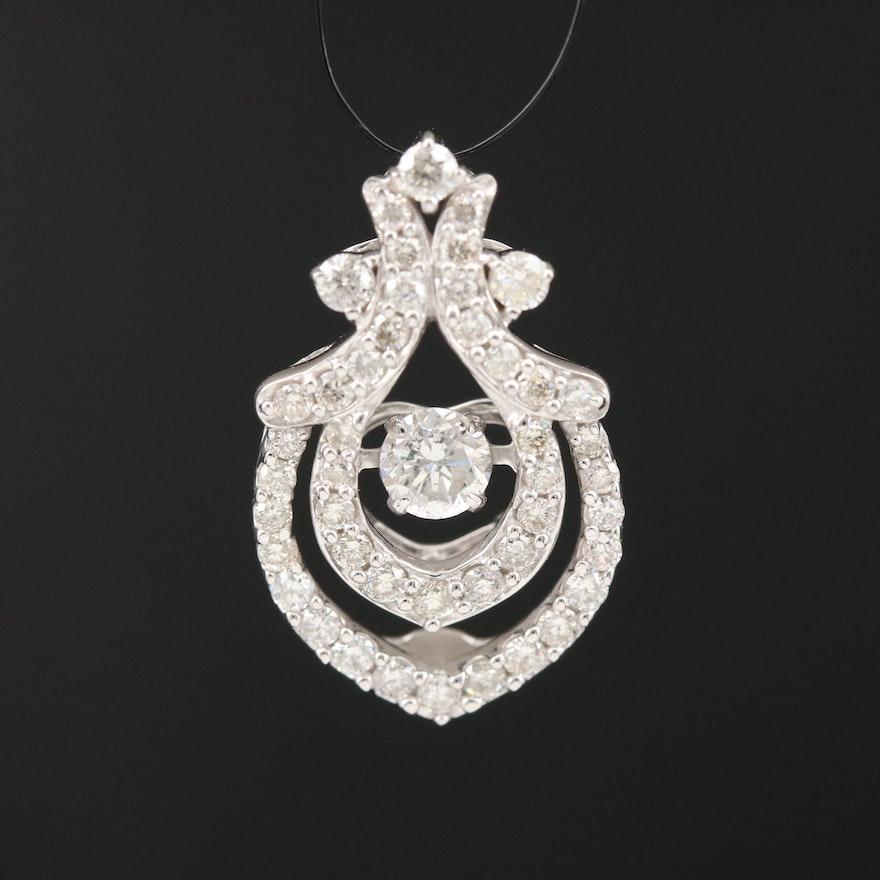 14K Diamond Pendant with Articulating Center Diamond