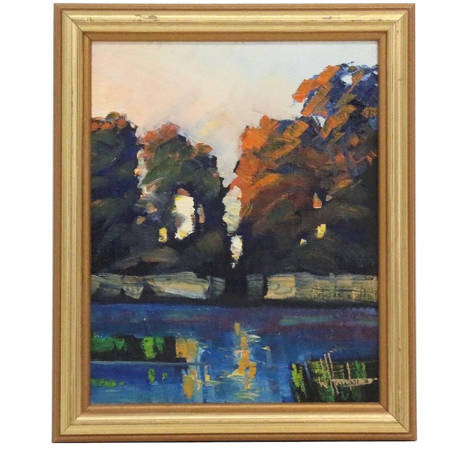 William Hawkins Lake Landscape Oil Painting, 21st Century