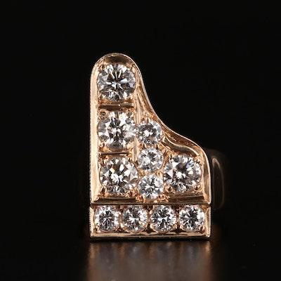 "18K Gold 3.02 CTW Diamond ""Grand Piano"" Ring"