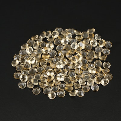 Loose 100.25 CTW Round Faceted Citrine