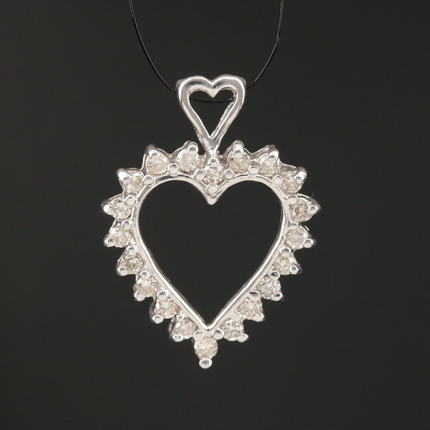 Platinum Diamond Heart Pendant