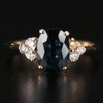 10K 1.58 CT Sapphire and Diamond Ring