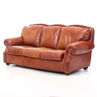 Stone Mountain Leather Trends Roll-Arm Leather Sofa