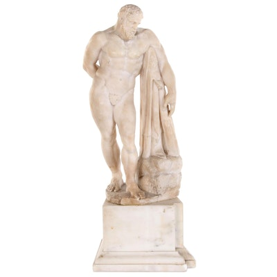 "Carved Alabaster Replica Sculpture after Lysippos ""Farnese Hercules"""