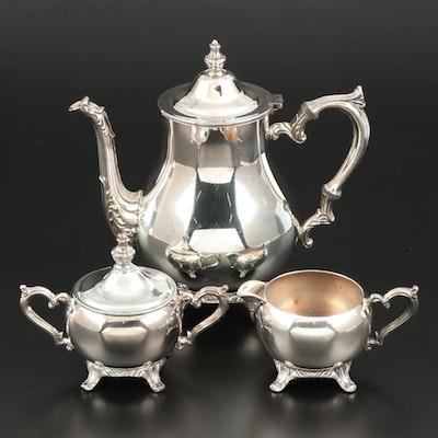 International Silver Co. Silver Plate Teapot, Sugar, and Creamer