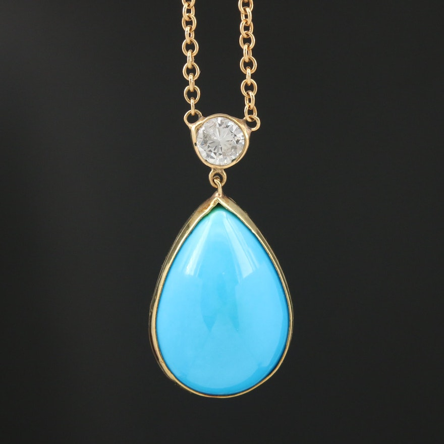 18K Turquoise and Diamond Pendant Necklace