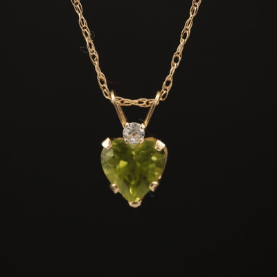 14K Peridot and Cubic Zirconia Heart Pendant Necklace