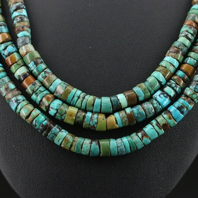 Southwestern Style Beaded Turquoise Triple Strand Necklace with Sterling Clasp