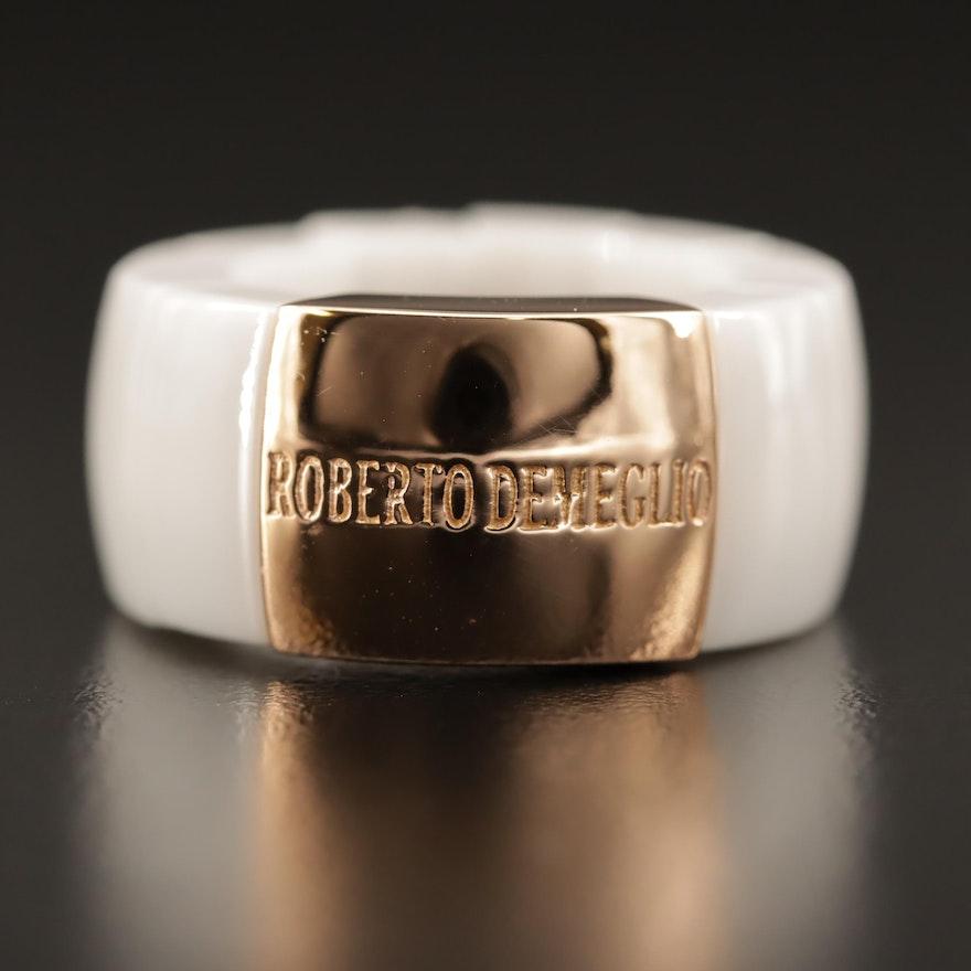 Roberto Demeglio 18K White Ceramic Expandable Ring