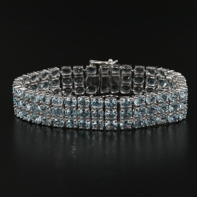 Sterling Silver Triple Row Topaz Bracelet