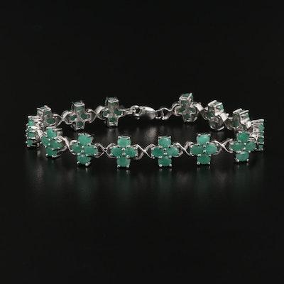 Sterling Silver Emerald Link Bracelet