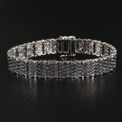 Sterling Silver Blue Diamond Bracelet