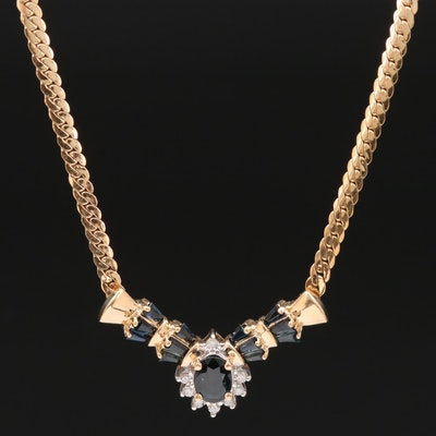 14K Blue Sapphire and Diamond Stationary Pendant Necklace