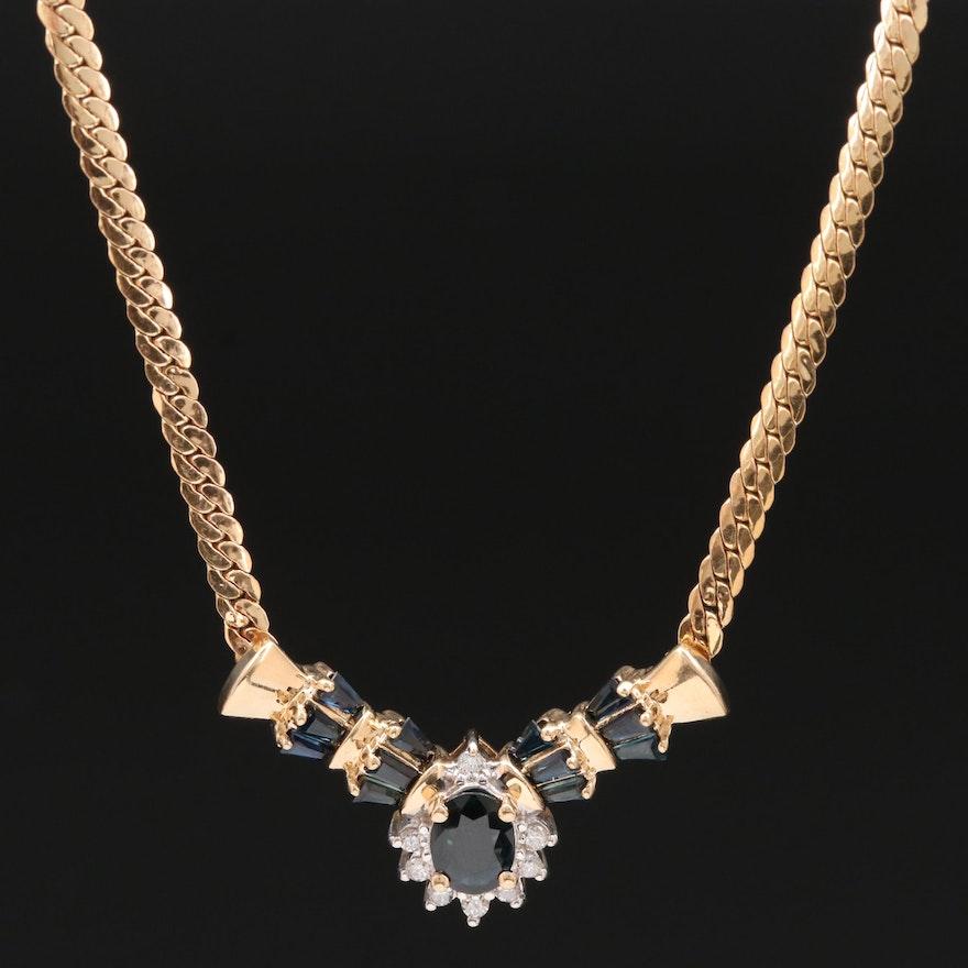 14K Blue Sapphire and Diamond Stationary Pendant Necklace