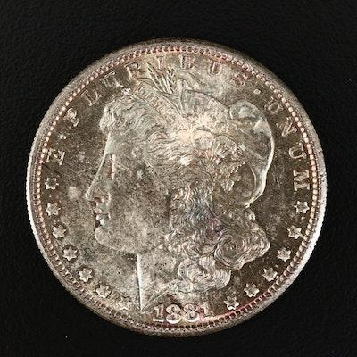 1881-S Morgan Silver Dollar, Rainbow Toning