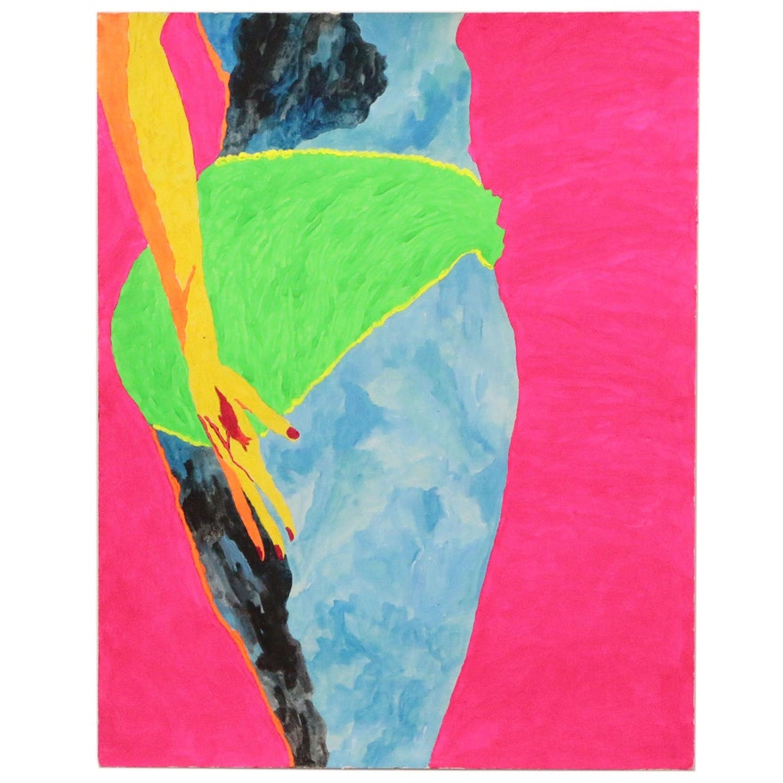 """Robert W. """"Hass"""" Hasselhoff Abstract Mixed Media Painting"""