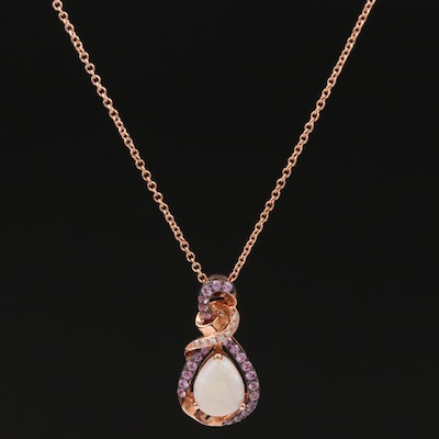 EFFY 14K Rose Gold Opal, Diamond and Pink Sapphire Pendant Necklace