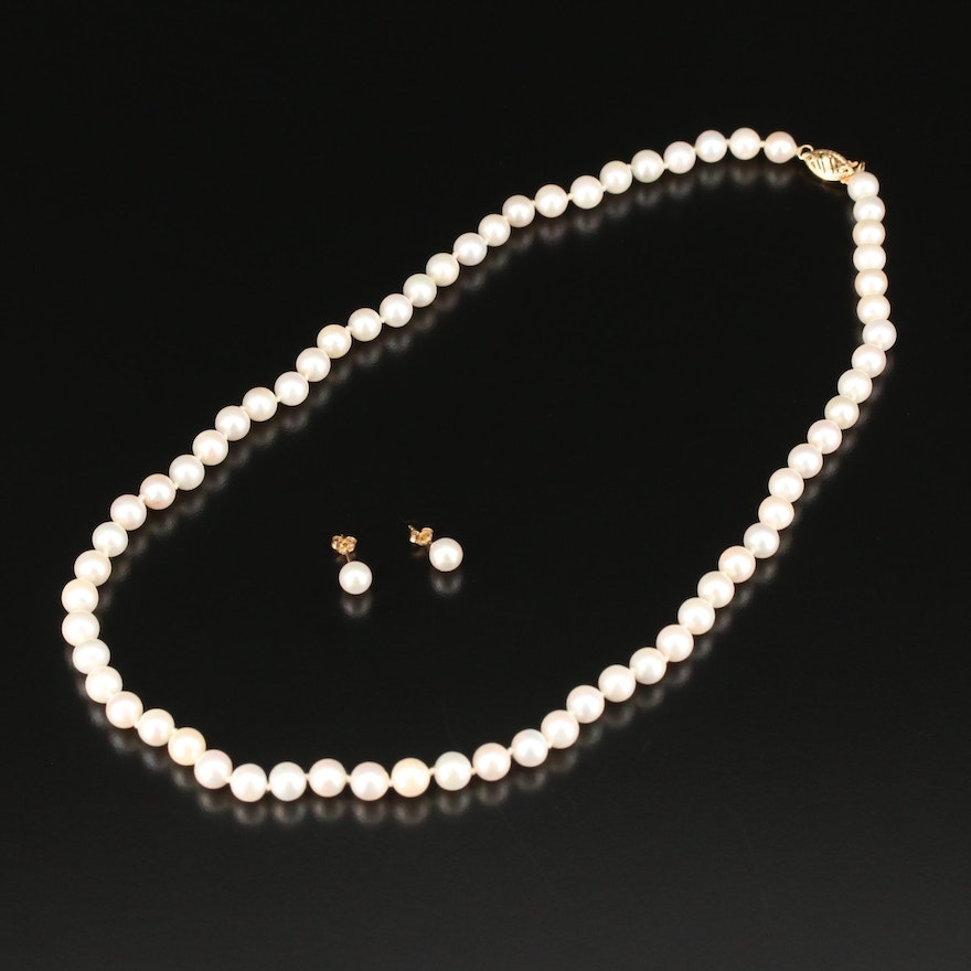 14K Knotted Pearl Necklace and Stud Earring Set