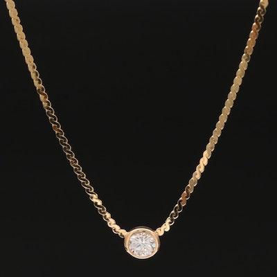 14K 0.53 CT Diamond Solitaire Serpentine Chain Necklace