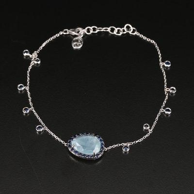EFFY 14K Aquamarine and Sapphire Dangle Bracelet