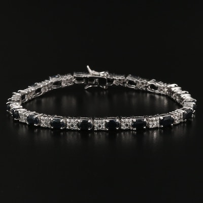 Sterling Silver Sapphire and Topaz Bracelet