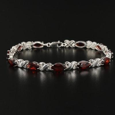 Sterling Silver Garnet Crossover Bracelet