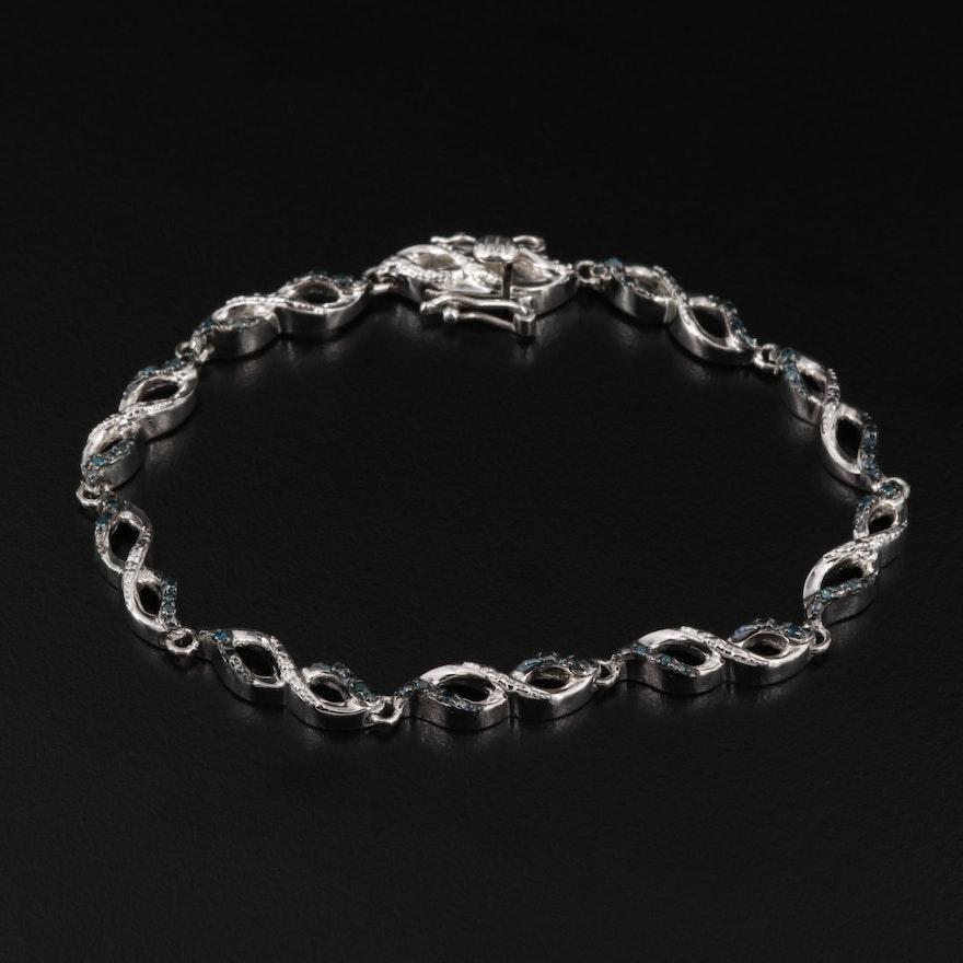 Sterling Silver Diamond Infinity Link Bracelet
