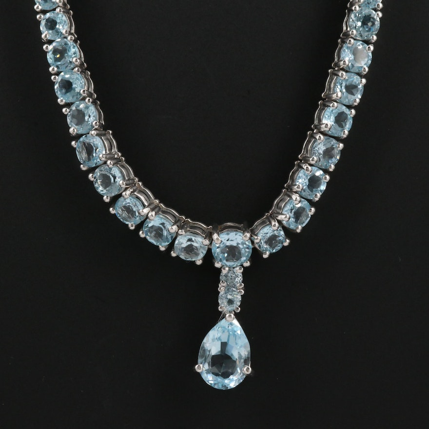 Sterling Silver Topaz Necklace with Drop