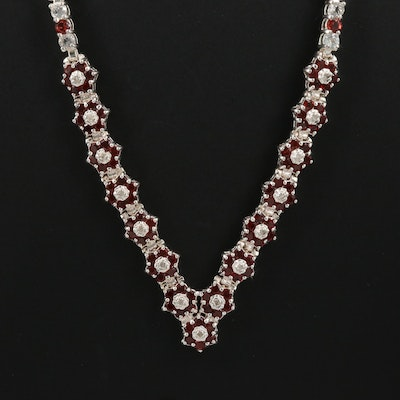 Sterling Silver Garnet Necklace with Topaz and Diamond Accents