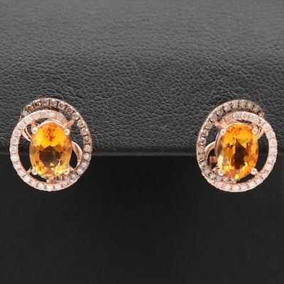 EFFY 14K Citrine and Diamond Earrings