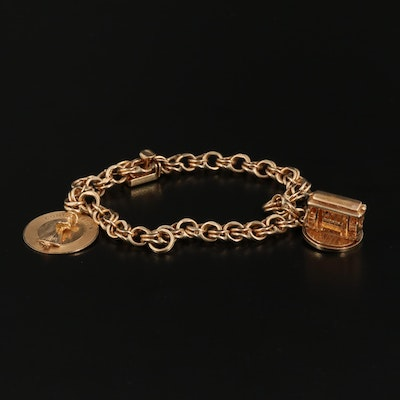 14K Charm Bracelet Including Cable Car Charm