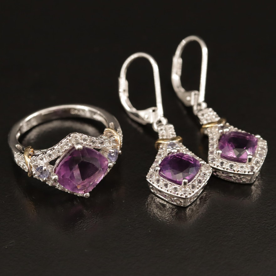 Sterling Silver Amethyst, Tanzanite and White Spinel Earrings and Ring