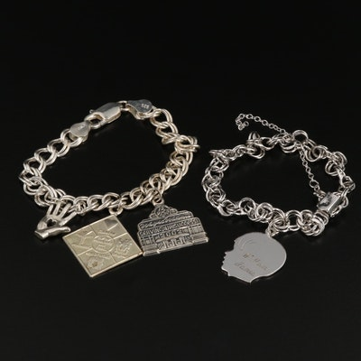 Sterling Silver Charm Bracelets Including Heart in Hand Charm