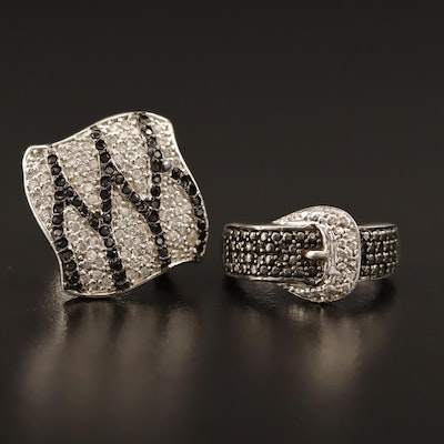 Sterling Cubic Zirconia and Diamond Rings Including Buckle Motif