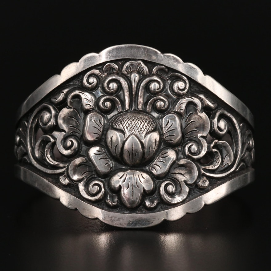 Signed 800 Silver Floral Cuff