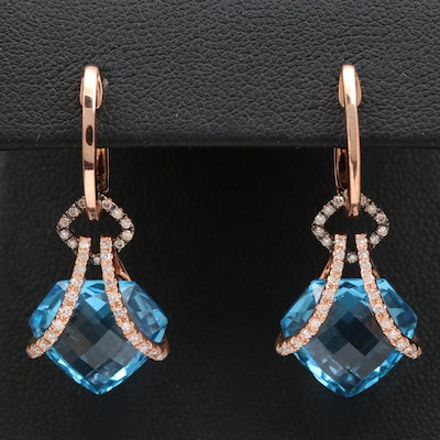BH 14K Rose Gold Topaz and Diamond Earrings
