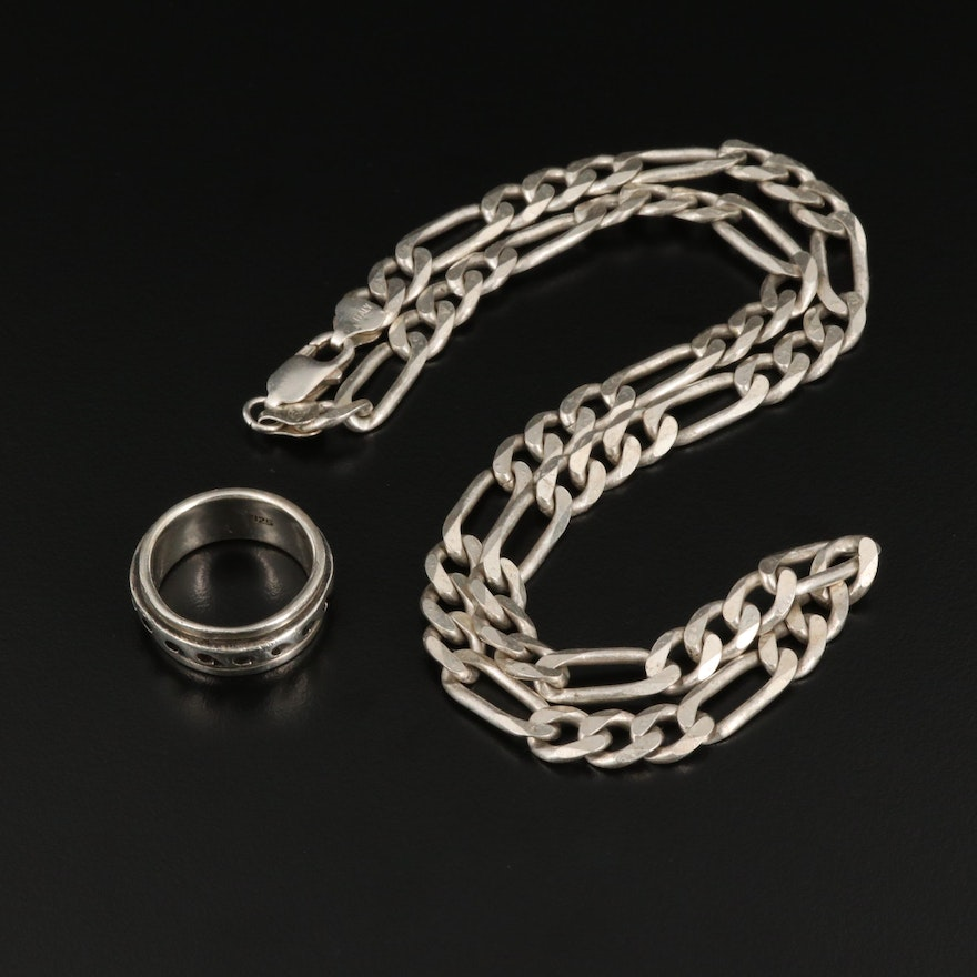 Sterling Silver Figaro Chain with Wave Motif Spinner Ring