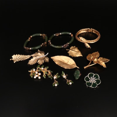 Collection of Jewelry Including Double Serpent Bracelet and Leaf Brooch